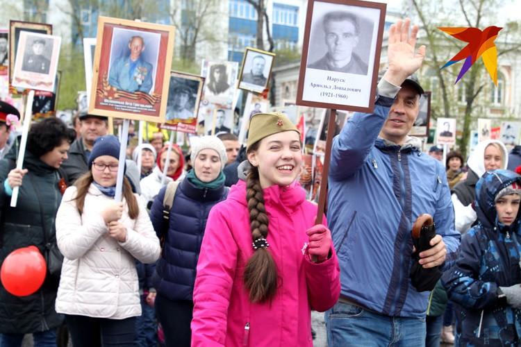 Участники акции Бессмертный полк в Иркутске