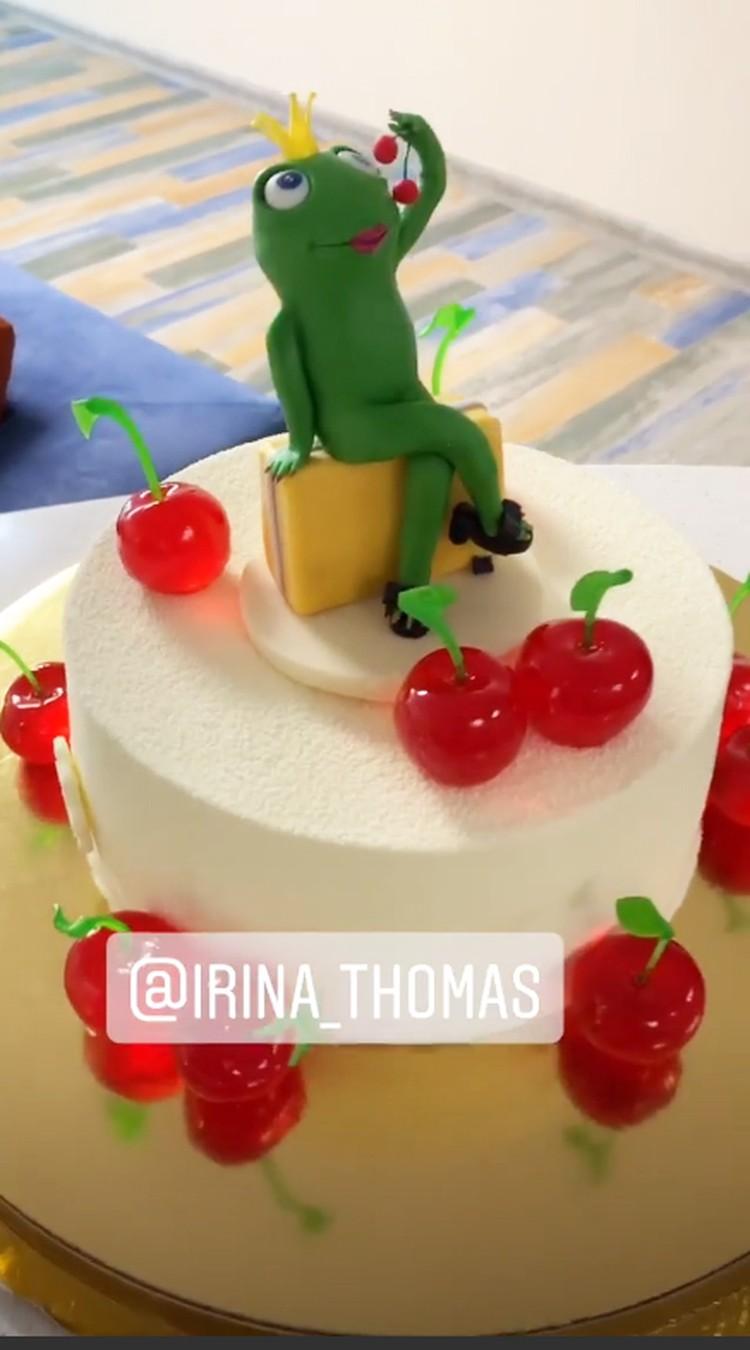 Торт, украшенный лягушкой и вишенками, певице тоже преподнесли друзья. Фото: Инстаграм.