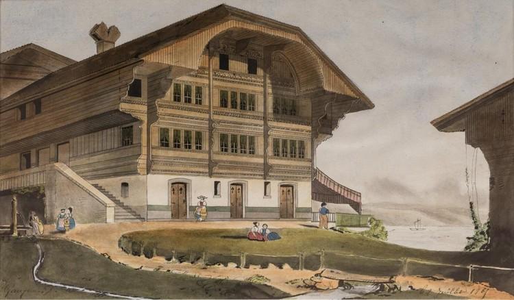 Ученический рисунок Поля Гогена «Швейцарское шале на берегу Луары», 1865 год. Фото с официального сайта аукционного дома Rouillac
