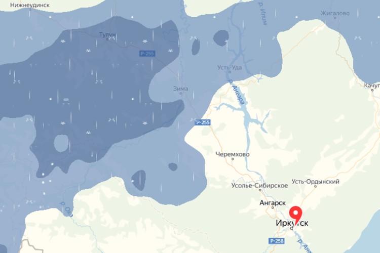 Дожди уже прошли через Тайшетский и Нижнеудинский районы и движутся юг Приангарья. Фото: скриншот сервиса Яндекс.Погода.