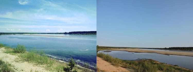 Фото: река Вычегда в местечке Алешино. Июнь-сентябрь 2018.