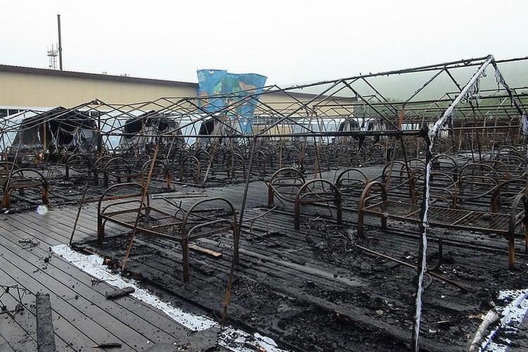 Палаточный лагерь «Холдоми» сгорел ночью 23 июля. ФОТО ГУ МЧС Хабаровского края