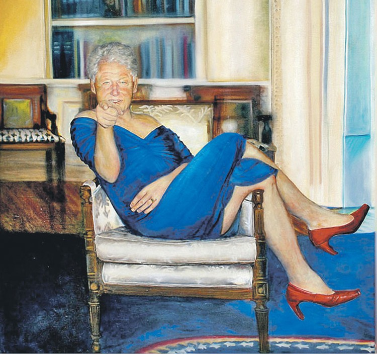 В особняке Эпштейна нашли странную картину «Клинтон в синем платьице».