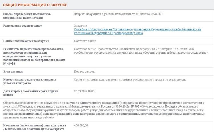 """ФОТО: Скриншот сайта """"Госзакупки"""""""