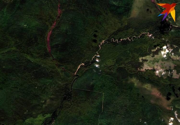 Место слияния рек Ольховка и Шегультан: белая полоса - это грязная река после попадания грязных вод. Фото: снимок из космоса