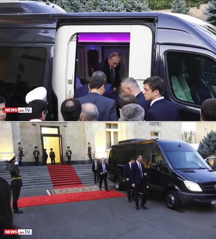 все вместе отправились на шикарном VIP-микроавтобусе – с неоновой подсветкой и с армянскими номерами. Кадр портала news.am.