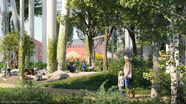 Благоустройство парка включает беговые дорожки, площадки для детей и занятий спортом.