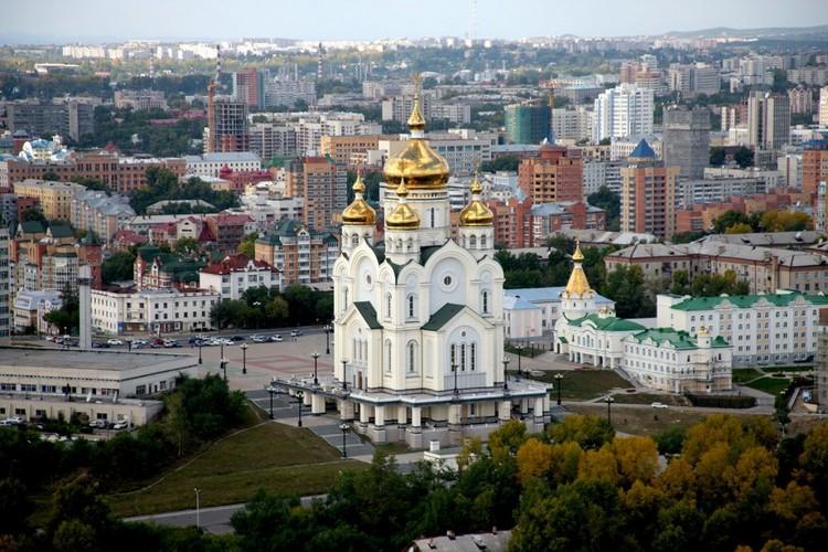 Краевой центр - Хабаровск. Вид на площадь Славы