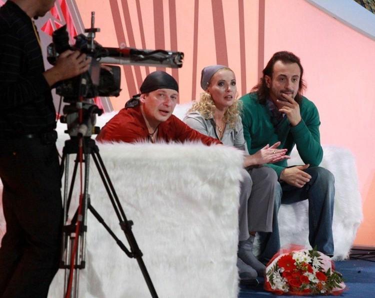 Ирина Лобачева с Ильей Авербухом и Дмитрием Марьяновым на шоу «Ледниковый период»