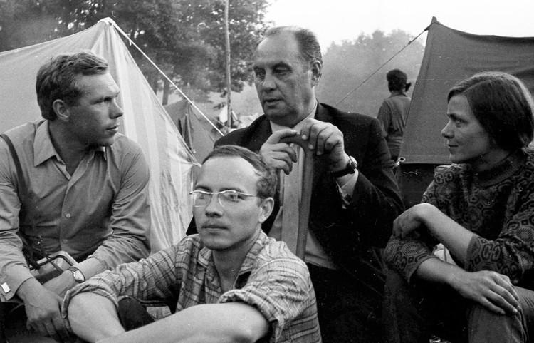 Первый фестиваль памяти. Слева направо - Евгений Недосеков, Анатолий Головин, Федор Иванович Грушин