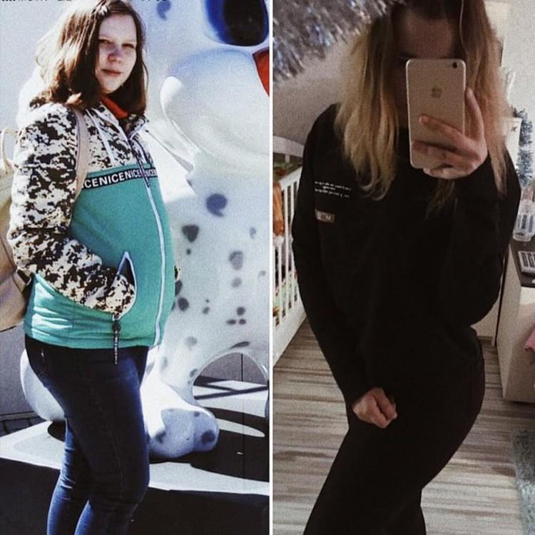 Полина до и после беременности. Фото: предоставлено героиней публикации