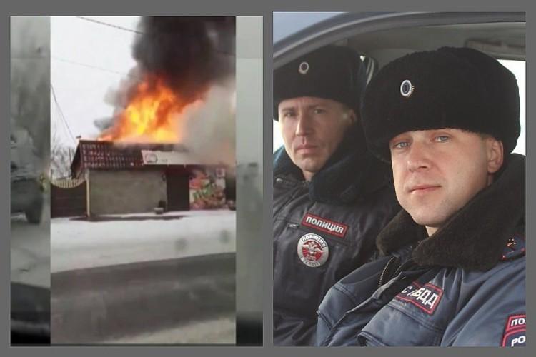 Под Красноярском полицейские вывели из горящего дома женщину и ее питомицу. Фото: МО МВД России «Березовский».