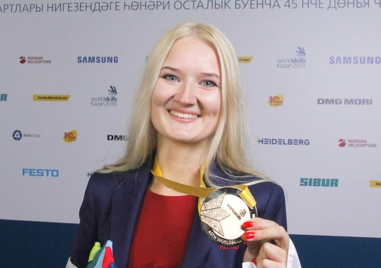 Обладательница золотой медали по компетенции «Визуальный мерчендайзинг» Анастасия Распопова.