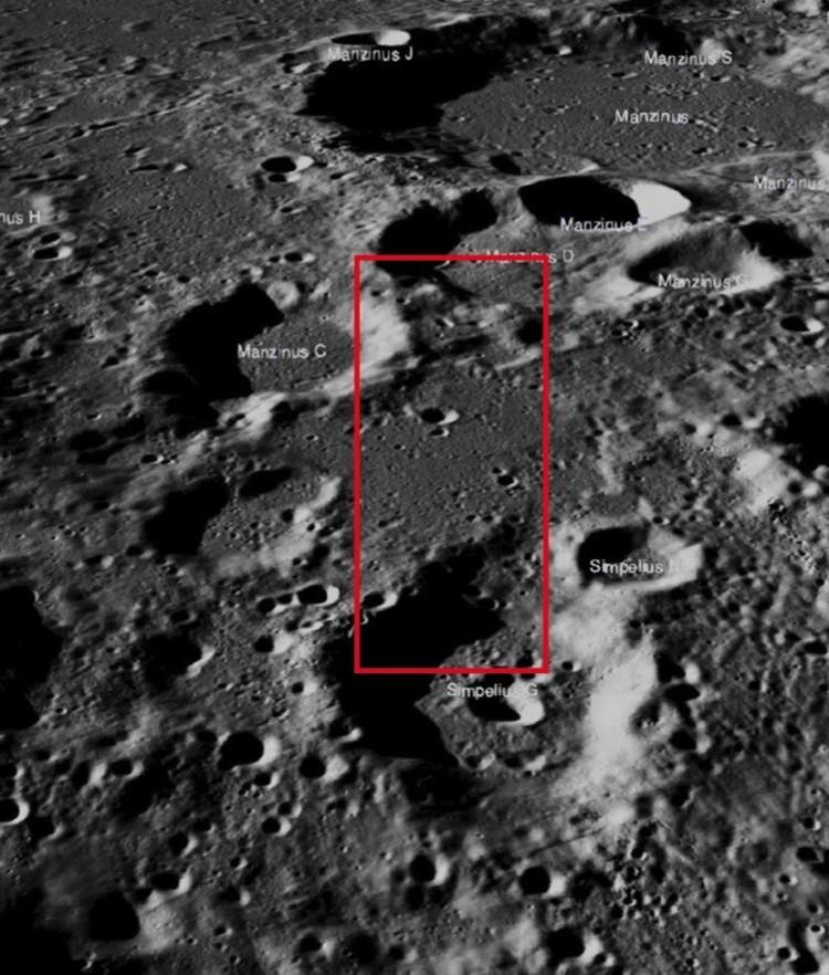 Место между кратерами, где должен был прилуниться индийский зонд с луноходом.