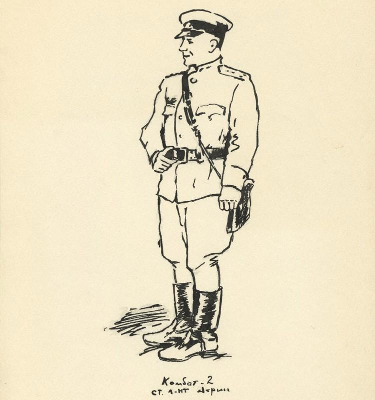«Комбат 2. Старший лейтенант Ахрин». Рисунок Василя Быкова.