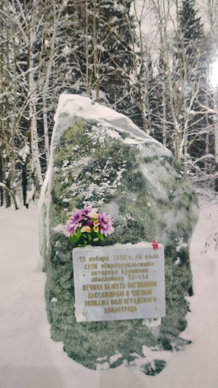 На месте падения самолета под Первоуральском был установлен мемориальный камень. Фото: из личного архива семьи Лукьяновых.