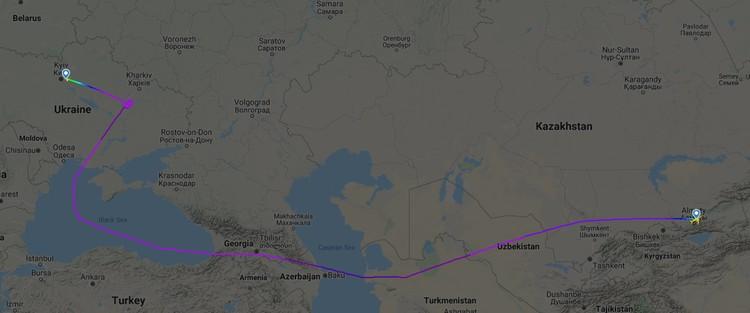 Путь самолета, вывозившего граждан на Украину из Уханя. Фото: flightradar24