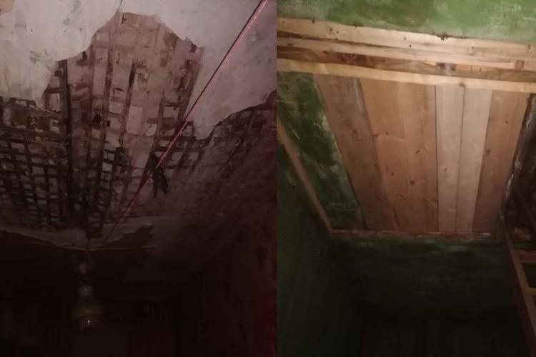 Потолок до и после того, как были проведены ремонтные работы. Фото: Константин Терещенко