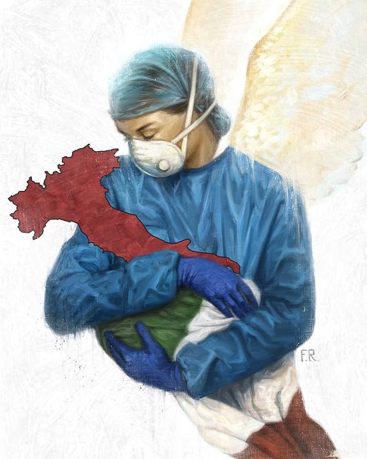 Рисунок итальянского художника, изобразившего родину в объятиях медработника.