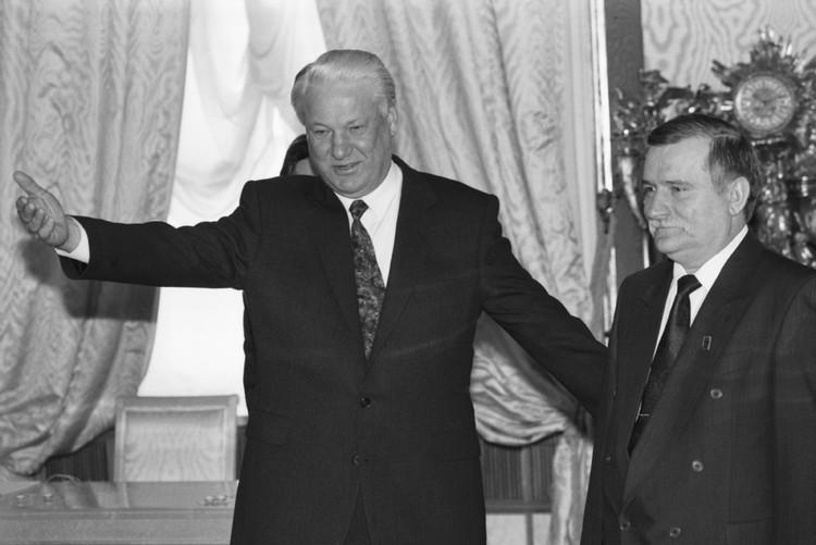 Лех Валенса и Борис Ельцин