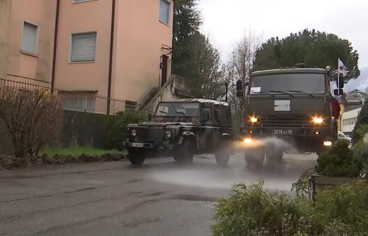 Дезинфекция улиц в итальянской Ломбардии силами наших военных.