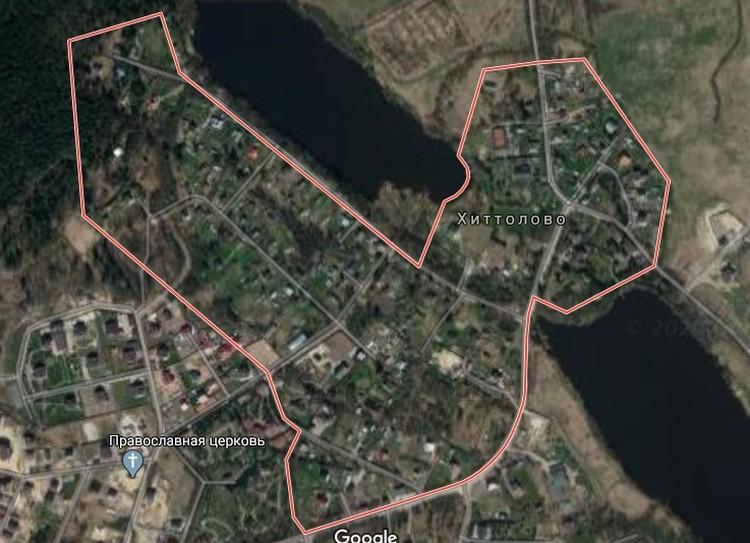Фото: Google maps. Деревня Хиттолово, вид со спутника.