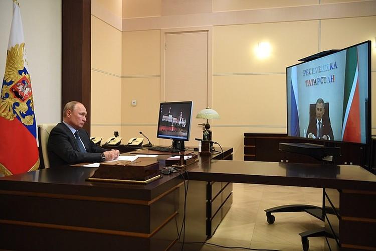 Путин отправил на выборы Минниханова в прямом эфире. Фото: Алексей Никольский/ТАСС