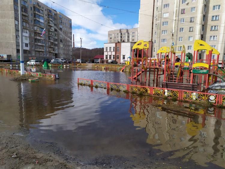в администрации Молочного говорят, что озеро у жилых домов появилось из-за талых вод. Фото: Денис Безус