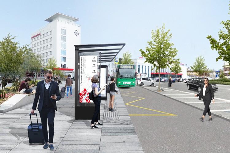 Перед зданием метрополитена может появиться остановка общественного транспорта. Визуализация:MLA+