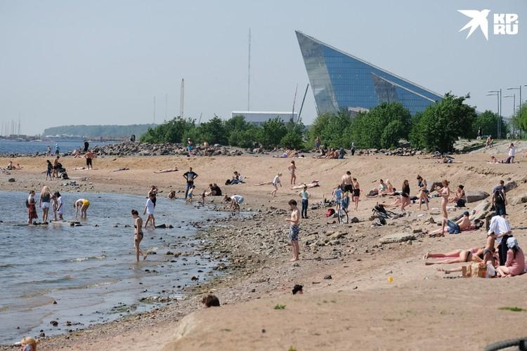 В 30-градусную жару петербуржцы спасаются на стихийных пляжах.