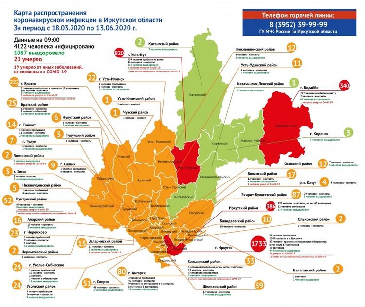 Нет коронавируса на сегодняшний день только в пяти районах Иркутской области. Фото: оперштаб при министерстве здравоохранения Иркутской области