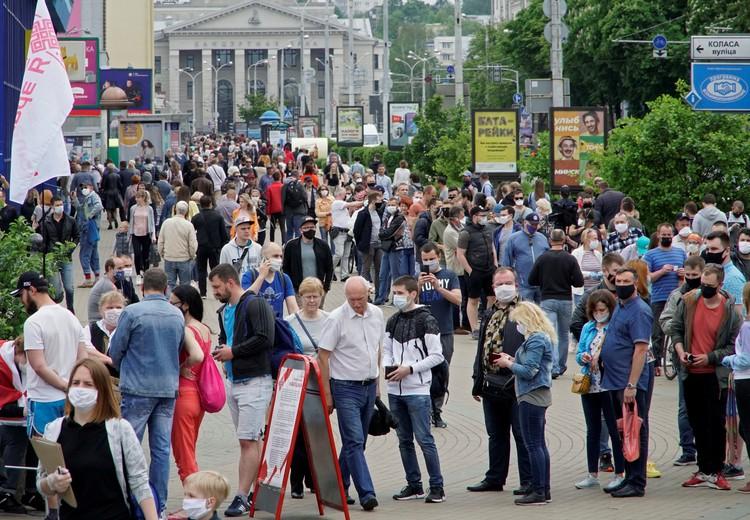 В центре Минска накануне выборов президента