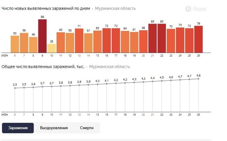 Статистика заболеваемости коронавирусом в Мурманской области. Фото: yandex.ru/covid19/stat