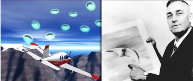 Кеннет Арнольд рассказывает и показывает, с чем он столкнулся в полете.