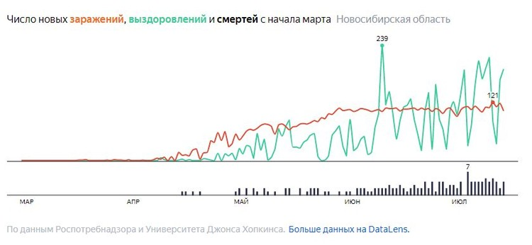 Как ведет себя инфекция на территории Новосибирской области: по графику виден рост смертности. Фото: Яндекс\https://yandex.ru/covid19/