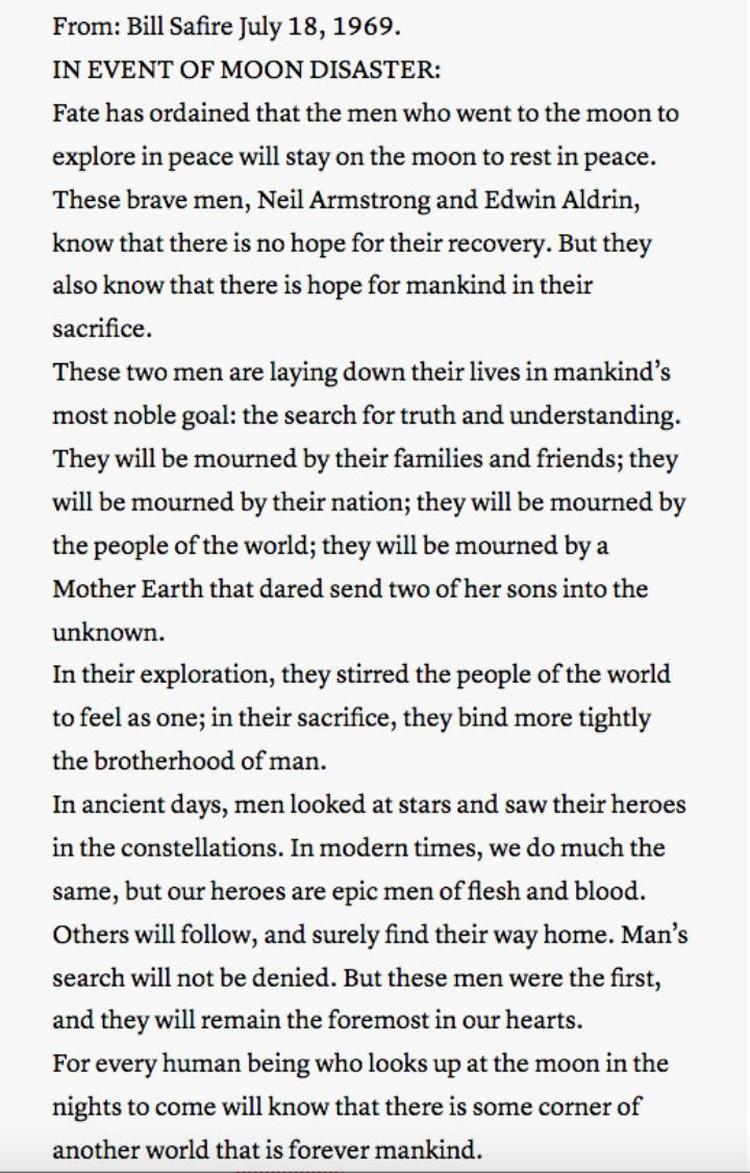 Текст траурной речи по поводу гибели Армстронга и Олдрина.