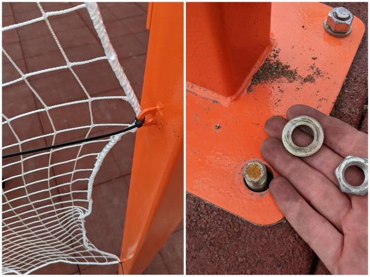 Сетка - на пластиковых стяжках, а гайки скручиваются рукой. Фото: читатель КП