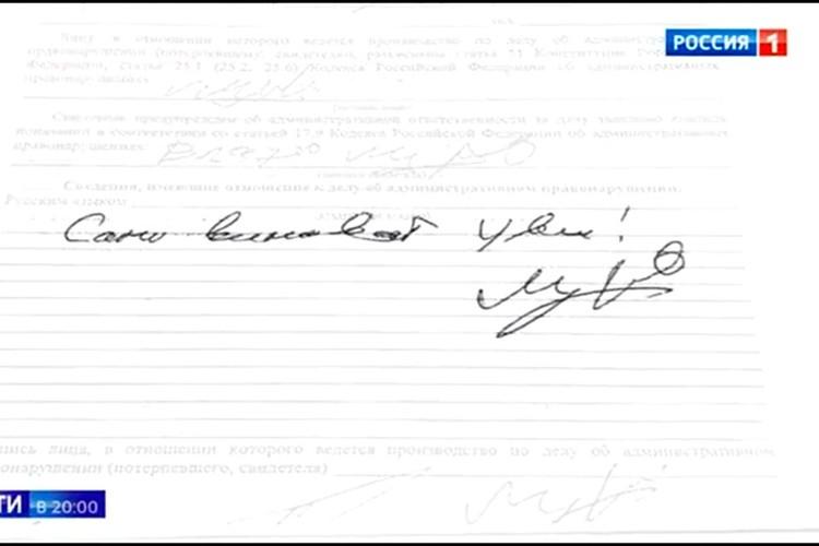 Признания Михаила Ефремова из уголовного дела. Фото: скрин документа, программа «Вести», канал «Россия1».