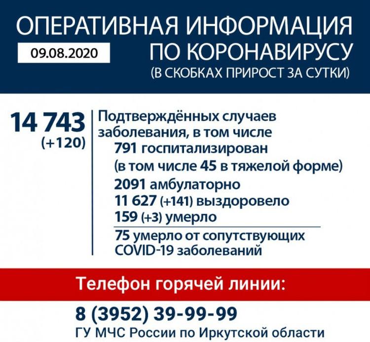 Данные оперативного штаба на 9 августа. Фото: сайт правительства Иркутской области