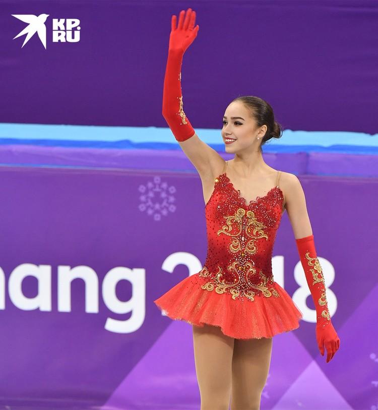 Алена Загитова на пьедестале Пхенчхана, 2018 г.