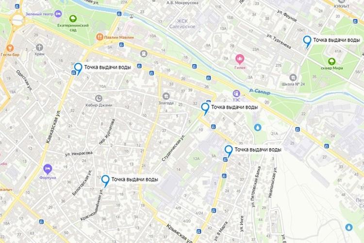"""Карта с """"точками выдачи воды"""" размещена на сервисе Яндекс"""