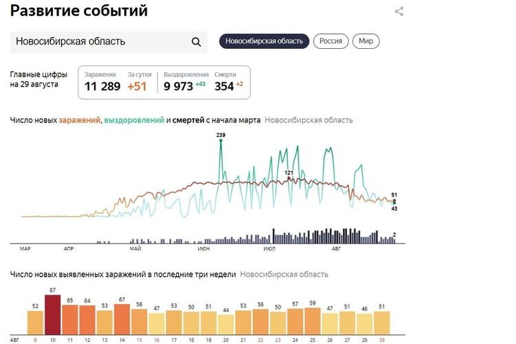 Статистика заболеваемости коронавирусом в Новосибирске на 30 августа 2020 года. Фото: сервис «Яндекс»