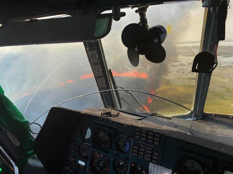 Пожар тушат с воздуха. Фото: ГУ МЧС по Краснодарскому краю.