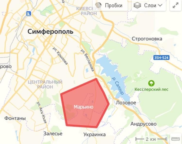 Марьино в плотную граничит с Симферополем. Фото: yandex.ru