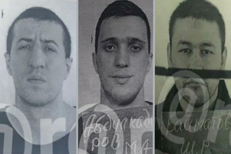 Беглецы. Слева направо: Рашид Аминов, Магомед Абдулкадиров, Бойматов Шамиль. Фото с ориентировки