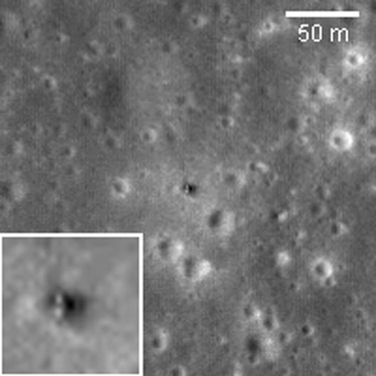 Посадочная ступень Луны-16 на лунной поверхности. Снимок сделан в сентябре 2009 г. искусственным спутником Луны LRO.