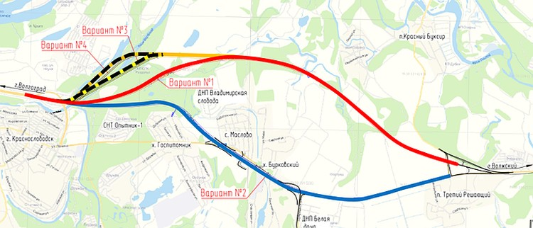 Варианты прохождения трассы по пойме. Остановились проектировщики на красной линии.