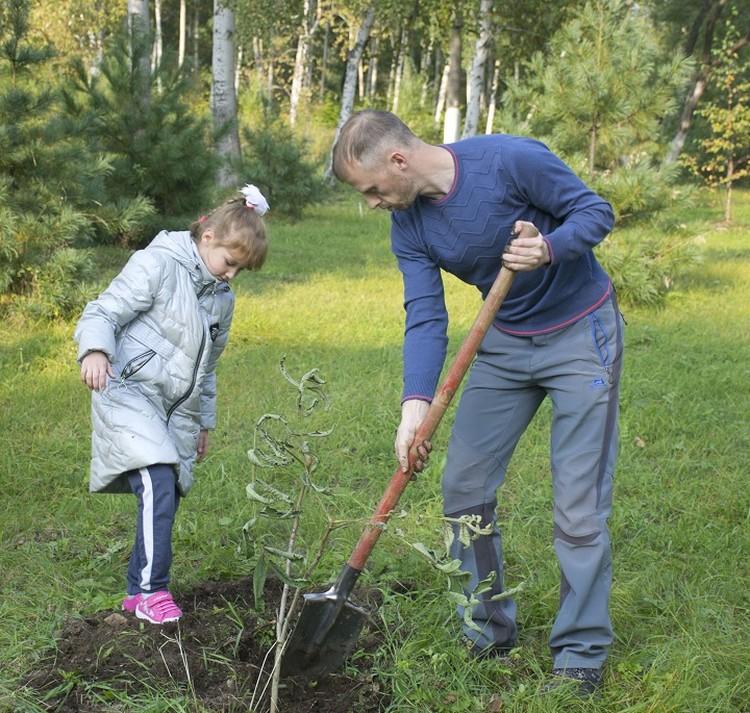 Взрослые и дети вместе высадили несколько деревьев. Фото: Комсомольский НПЗ