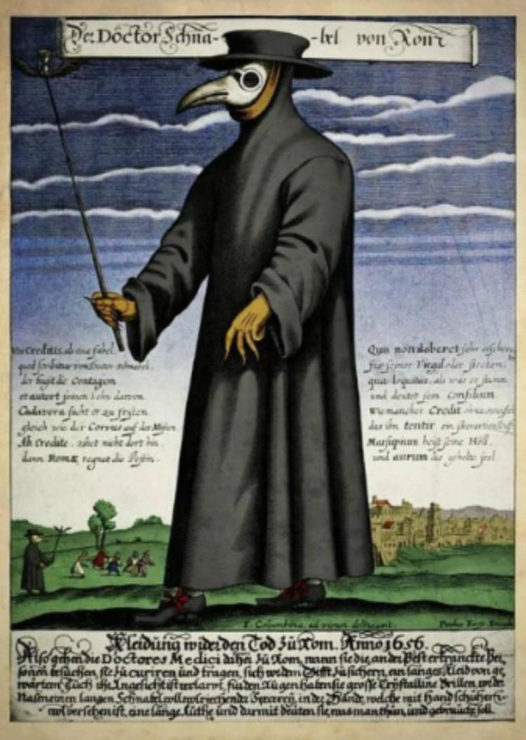 «Чумной доктор» в средние века. Гравюра 1656 года. В России в те годы свирепствовал тиф. Фото: Wikimedia Commons