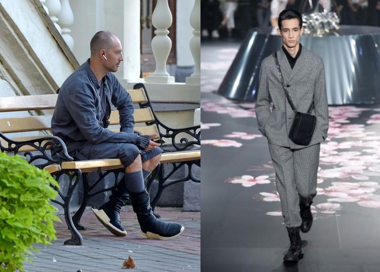 Слева: Молодой человек — самый модный из всей нашей подборки, справа: вот еще один модный образ парня в сером от «Dolce & Gabbana»